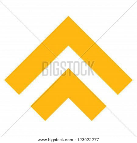 Shift Up vector symbol. Image style is flat shift up pictogram symbol drawn with yellow color on a white background.