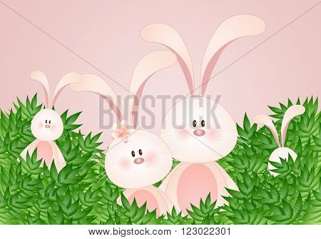 illustration of rabbit's family il the middle of leaves