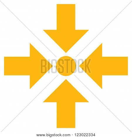 Shrink Arrows vector pictogram. Image style is flat shrink arrows iconic symbol drawn with yellow color on a white background.