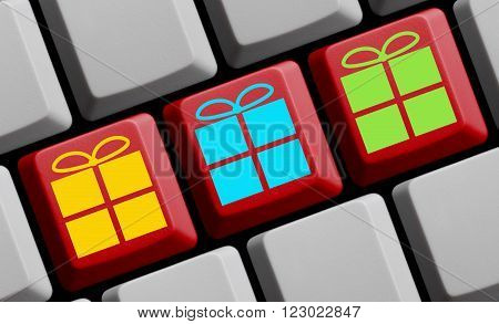 Three present symbols on red computer keyboard