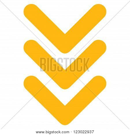 Triple Arrowhead Down vector symbol. Image style is flat triple arrowhead down pictogram symbol drawn with yellow color on a white background.