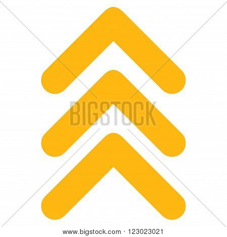 Triple Arrowhead Up vector pictogram. Image style is flat triple arrowhead up pictogram symbol drawn with yellow color on a white background.