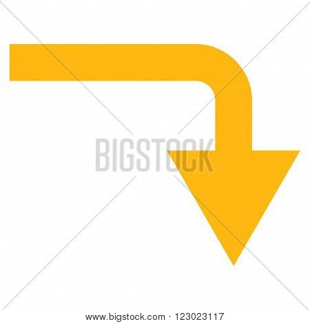 Turn Down vector symbol. Image style is flat turn down iconic symbol drawn with yellow color on a white background.
