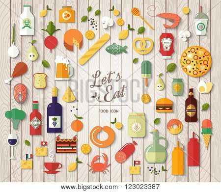 Flat design style modern vector illustration icons set on wood texture. Tasty food meals drinks confection vegetables and fruits.