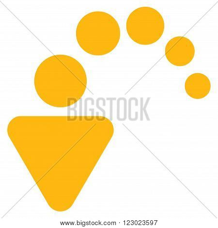 Undo vector icon. Image style is flat undo pictogram symbol drawn with yellow color on a white background.