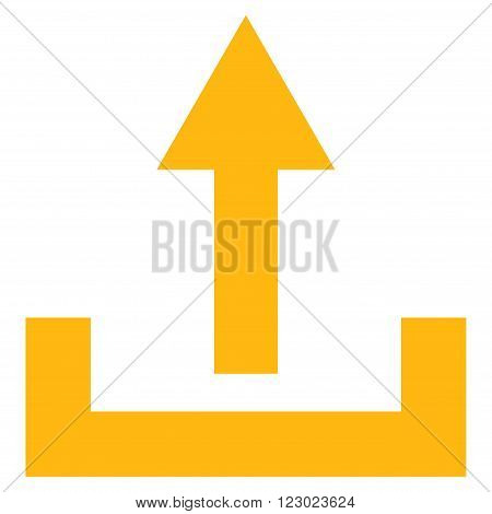 Upload vector icon. Image style is flat upload iconic symbol drawn with yellow color on a white background.