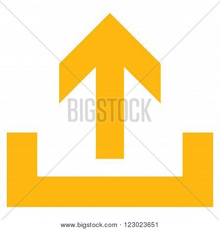 Upload vector pictogram. Image style is flat upload pictogram symbol drawn with yellow color on a white background.