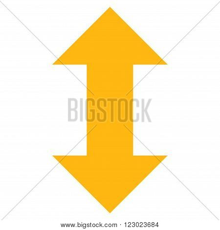 Vertical Exchange Arrows vector symbol. Image style is flat vertical exchange arrows icon symbol drawn with yellow color on a white background.