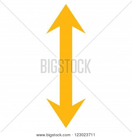 Vertical Flip vector symbol. Image style is flat vertical flip icon symbol drawn with yellow color on a white background.