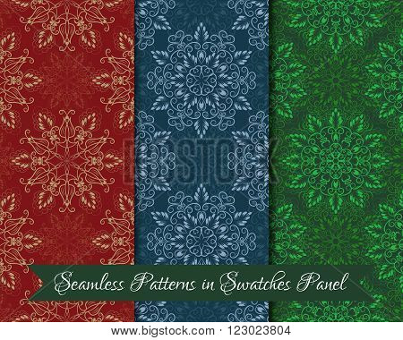 Set of Vector Seamless Mandala Patterns. Seamless patterns for your designs invitation card yoga meditation astrology religion and other wrapped projects. Patterns in swatches panel