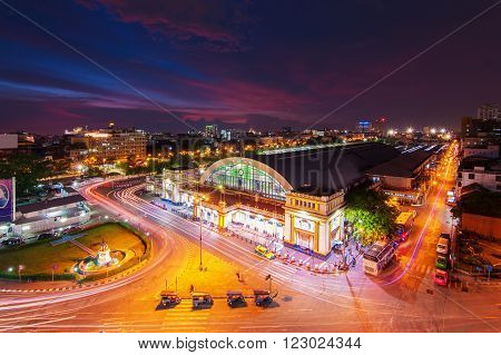 Bangkok Railway Station at Night , Thailand
