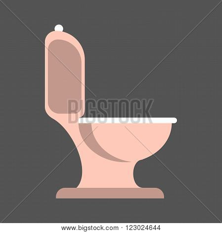 Isolated pink toilet on gray background. Vector illustration.