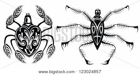 Set of black silhouette spider icon. Tattoo spiders