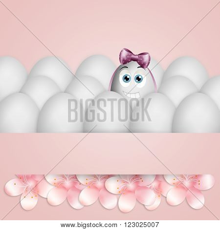 illustration of funny egg with pink ribbon