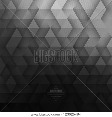 Vector technology abstract geometric background. Vector dark gray background. Vector pattern. Vector geometric structure. Triangular vector background. Retro vector background. Hipster background