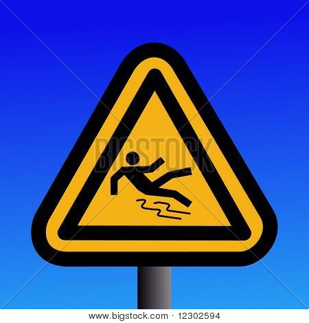 wet and slippery floor sign on blue illustration