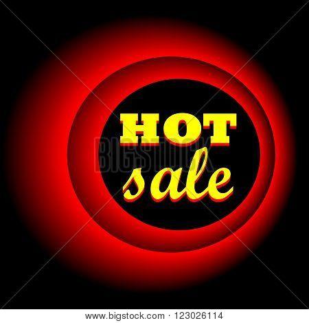 Hot sale. Sale banner. Neon circle. Neon red light. Vector electric frame. Vintage frame. Retro neon lamp. Vector illustration
