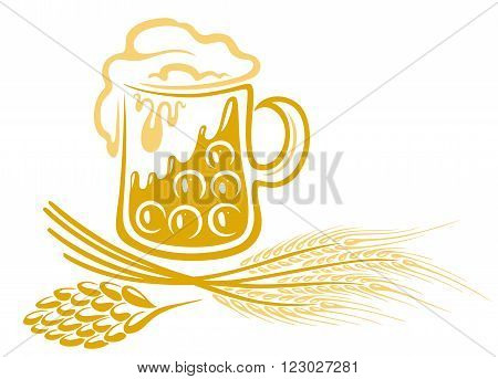 Beer glass with cereal and hop, vector design.