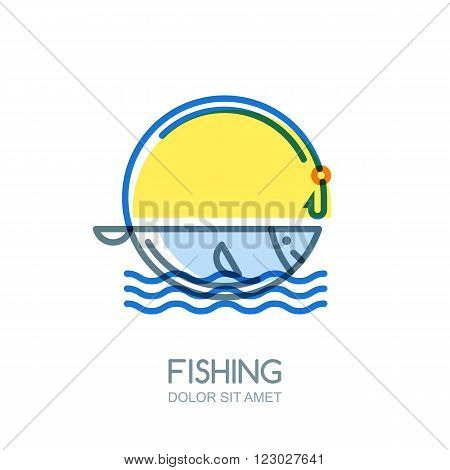 Vector Fishing Logo, Label, Badge Or Emblem Design Elements.