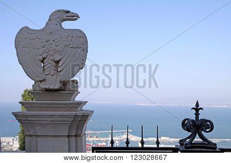 HAIFA ISRAEL - MARCH 01 2016: Eagle Sculpture in Bahai gardens on Mount Carmel