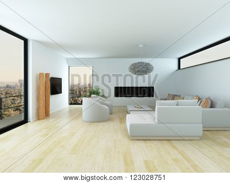 Modern white living room interior with a light parquet floor, white lounge suite and large view window overlooking a city, 3d render