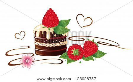 Chocolate praline with raspberries, flower decoration, vector design.