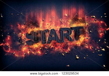 Burning orange fiery flames and explosive sparks on a dark background with the word - START - in black text for a dramatic poster design
