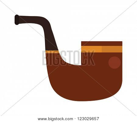 Vector brown smoking pipe. Vector modern flat design icon with smoking pipe. Tobacco pipe, smoking pipe isolated on white background. Gentlemans set with tobacco pipe.
