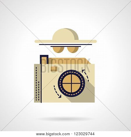 Photo camera and abstract person with hat and glasses. Detective symbol. Spy and reporters. Vector icon flat color style. Web design element for site, mobile and business.