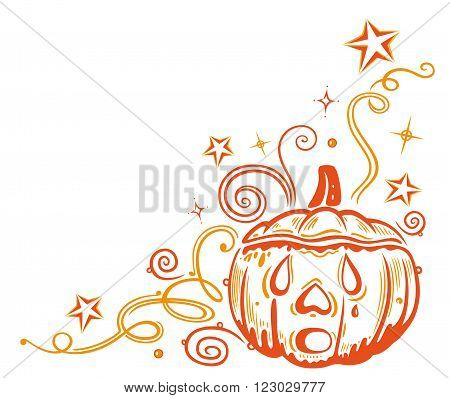 Decorative halloween tendril, with pumpkin, stars and swirls.