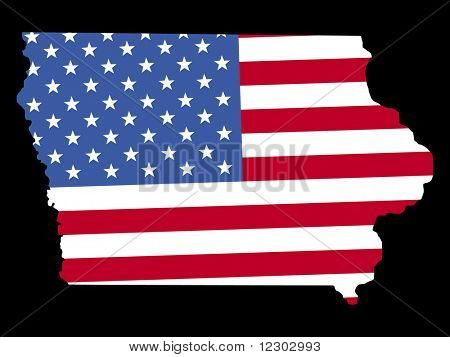 Map of the State of Iowa and American flag JPG