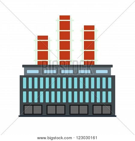 Plant industrial building icon in flat style isolated on white background