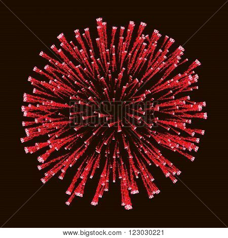 Red amazing firework isolated in dark background close up  For 4 of July, Independence day, New Year card.