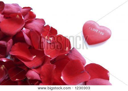 Quadro de pétalas vermelhas e coração