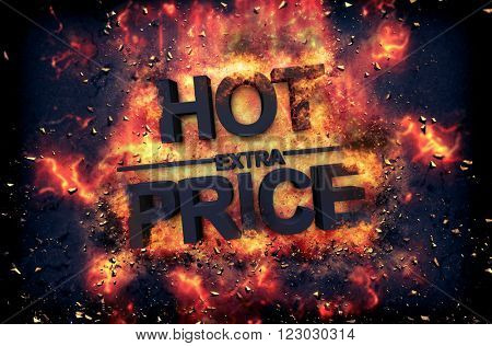 Burning orange fiery flames and explosive sparks on a dark background with the word - HOT PRICE - in black text for a dramatic poster design