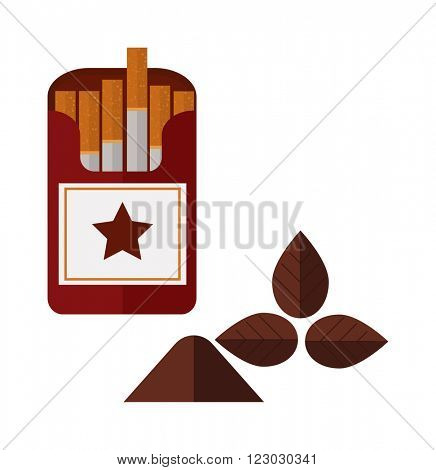 Icon cigarettes pack design idea and smoke cigarettes pack problem concept. Narcotic product cigarettes pack tobacco danger symbol. Open cigarettes pack box flat style vector illustration.