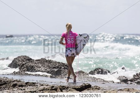 GOLD COAST, AUSTRALIA - MARCH 12 2016: Stephanie Gilmore (AUS) competing in the Roxy Pro at Snapper Rocks Coolangatta