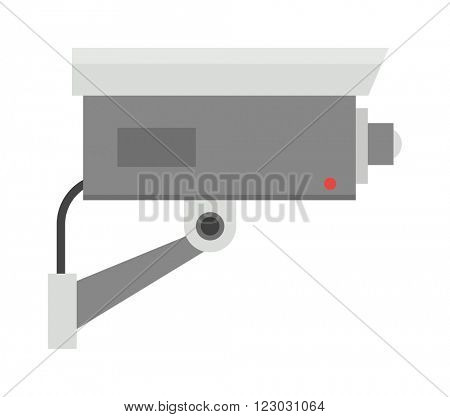 Security camera privacy protection system equipment and watching security camera record electronics control. Surveillance security camera safety home protection system technology vector illustration.