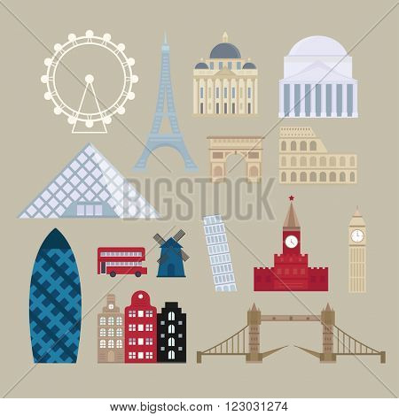 World countries cities vacation travel sightseeing collection european attractions and european attractions flat vector. Flat cartoon style historic sight european attractions vector illustration.