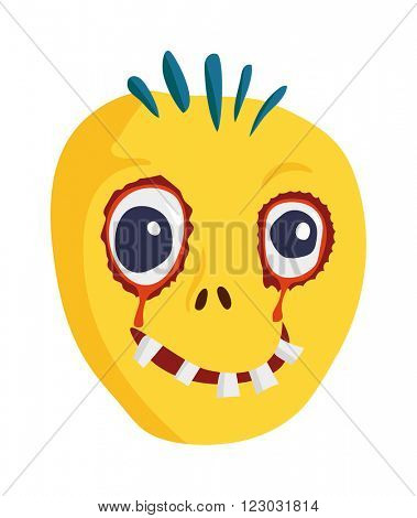Zombie head cartoon monster character scary flat vector illustration. Zombie head character face and zombie head smile spooky man. Portraip of cartoon moster blue zombie vector. Halloween kids style