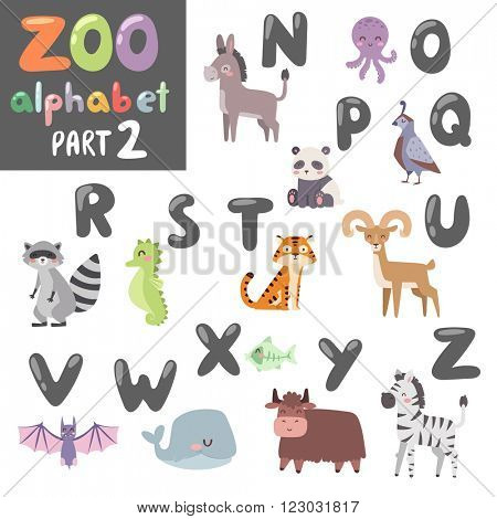 Animals funny alphabet font and wildlife animals alphabet symbol vector. Colorful vector zoo english alphabet with cartoon animals vector isolated on white background.