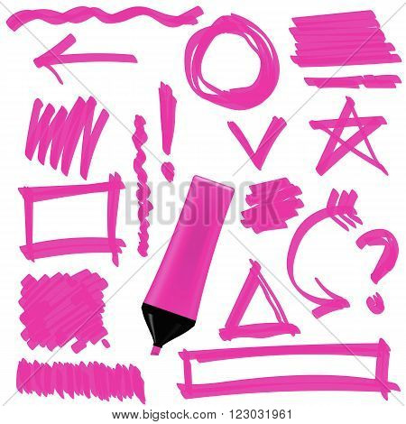 Pink Marker Isolated on White Background. Set of Graphic Signs. Arrows, Circles, Correction Lines