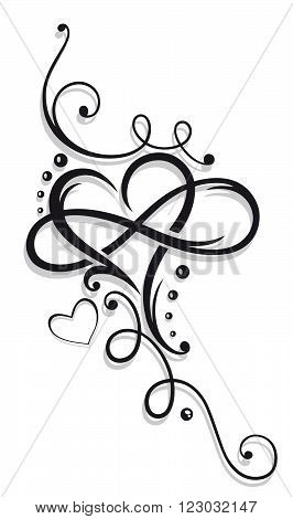 Large heart with infinity symbol. Tattoo style.