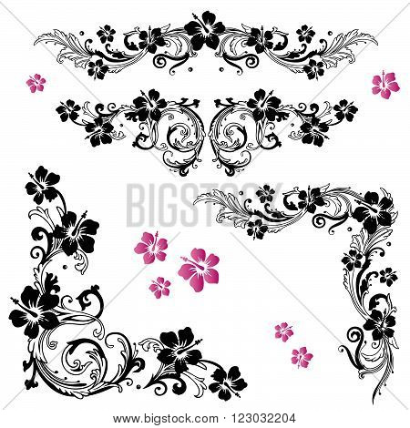 Filigree tendril with hibiscus, floral vector set.