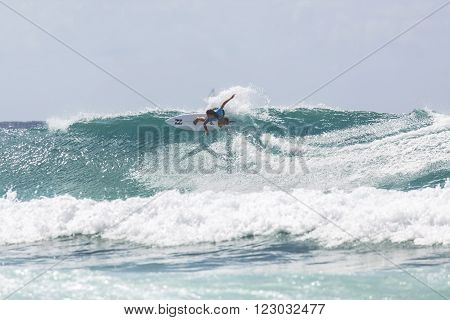 GOLD COAST, AUSTRALIA - MARCH 12 2016: Alessa Quizon (HAW) competing in the Roxy Pro at Snapper Rocks Coolangatta