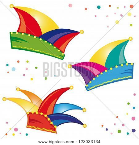 Colorful carnival decoration, dunce caps with confetti, vector set.