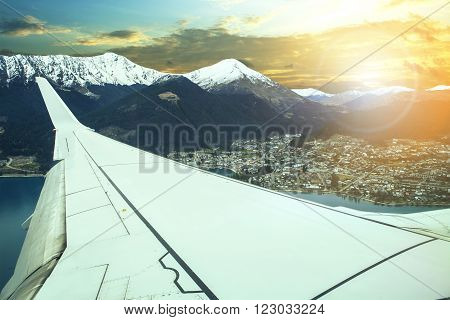 pland flying over queenstown impotant town and traveling destination in south island new zealand an