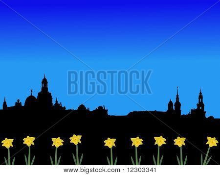 Dresden skyline in spring with daffodils illustration