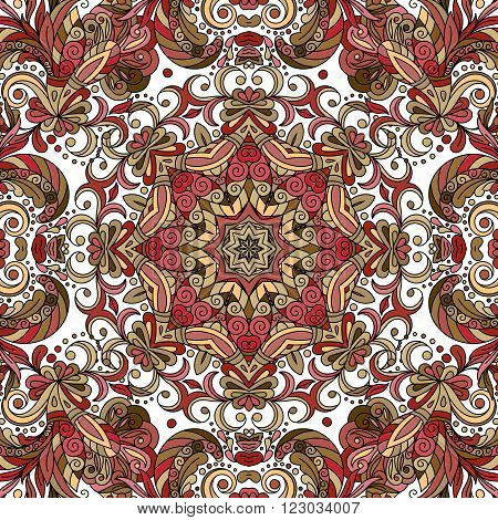 Flourish tiled pattern. Abstract floral geometric seamless oriental background. Fantastic flowers and leaves. Wonderland asian motives of the paintings of arabic mandala. Indian fabric pattern.