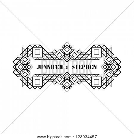Line Art Design for Invitations, Posters, Badges. Linear Element. Geometric Style. Ornate Element for Design. Wedding Invitation. Elegant Luxury Design Template. Lineart Vector Illustration.